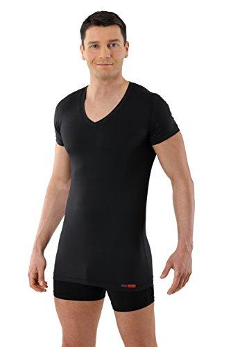 ALBERT KREUZ V-Funktionsunterhemd Business Herrenunterhemd aus Coolmax/Stretch-Baumwolle atmungsaktiv Sommer-Winter Klima-regulierend trockene Haut Kurzarm schwarz