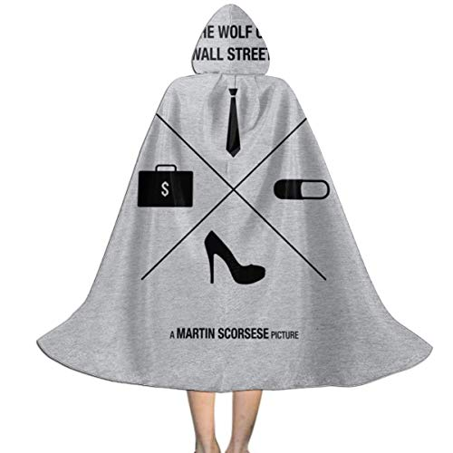 The Wolf Of Wall Street Halloween Costume (Wolf of Wall Street Icons Movie Silhouette Unisex Kids Hooded Cloak Cape Halloween Christmas Party Decoration Role Cosplay Costumes Outwear)