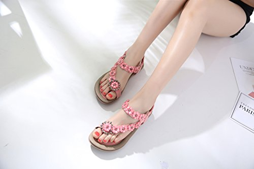 Ruiren Women Casual Rhinestone Flat Sandals with Flowers,Summer Beach Shoes for Ladies Pink