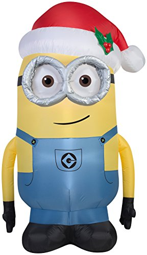 Gemmy Airblown Inflatable Dave the Minion Wearing a Santa Hat - Holiday Yard Decorations, 5-foot Tall