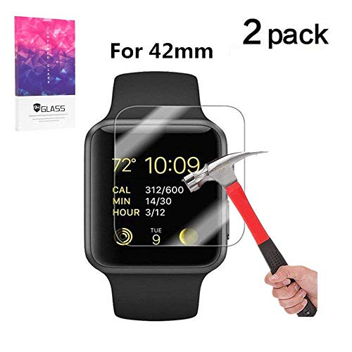 Apple Watch 42mm Screen Protector, VPR Premium 9H Hardness 2.5D Tempered Glass with [Highly Responsive] [No-Bubble] [Only Covers The Flat Area] for Apple Watch 42mm- [2 Pack] (Apple Watch 42mm 2PC)
