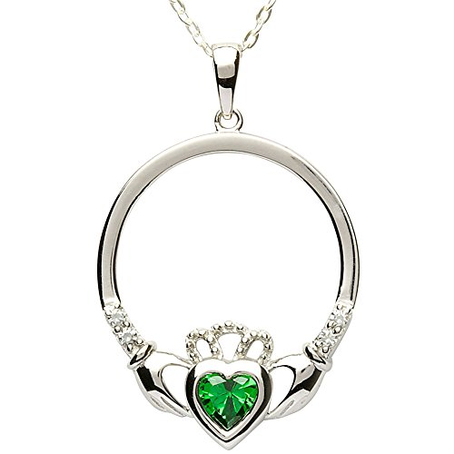MAY Birth Month Sterling Silver Claddagh Pendant LS-SP91-5. Made in - Emerald Store