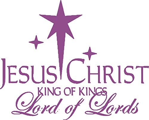Omega Jesus Christ - King of Kings - Lord of Lords Vinyl Decal Sticker Quote - Large - Lavendar