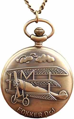 Women Pocket Analogue Quartz Pocket Watch Creative Airplane Pattern Necklace Pendant Pocket Watch Bronze Vintage Chain Necklace Pocket Watch