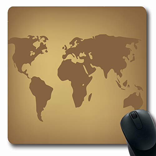 - LifeCO Mouse Pad Island Aged World Map Brown Africa America Antique Around Asia Atlas Design Cartography Oblong Shape 7.9 x 9.5 Inches Mousepad for Notebook Computer Mat Non-Slip Rubber