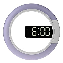 Vktech 12 Inch Digital Snooze Alarm Clock RGB LED Mirror 3 Modes Brightness Hanging Wall Clock with Temperature Function (White LED)