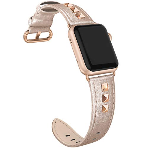 (SWEES Genuine Leather Band Compatible for iWatch Apple Watch 40mm 38mm Series 4, Series 3, Series 2, Series 1, Sports & Edition, Bling Dressy Designer Design Small Bands for Women, Rose Gold)