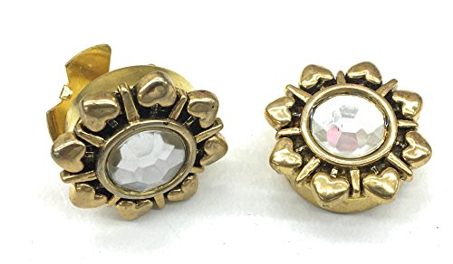 new Button Covers Rhinestone Resin Plated Gold Surround by Hearts •Button Clips -1 Pair - The Alternative to Cufflinks For Regular Shirts