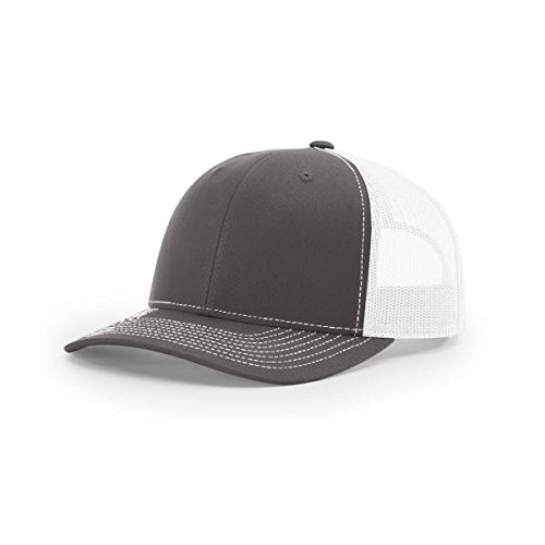 Richardson Charcoal/White 112 Mesh Back Trucker Cap Snapback (Snapback Cap Charcoal)