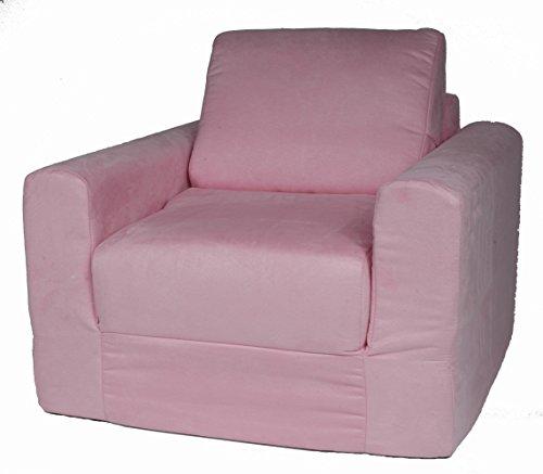 Fun Furnishings Chair Sleeper, Pink Micro Suede (Sleeper Chair Upholstered)