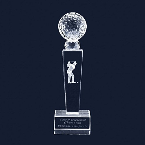 Customize Laser Engraving Golf Trophy Crystal Glass Trophy With 3D Golfer Includes No Engraving - Golf Crystal Awards