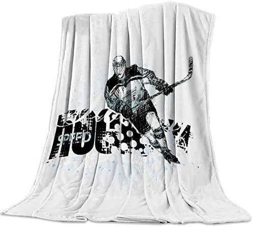 T&H XHome Nursery Bed Blankets Flannel Fleece Throw Blanket Ice Hockey Blanket for Couch or Bed - Super Soft Microfiber Fuzzy Flannel Blanket for Adults or Pet (Lightweight,Non Shedding) 40