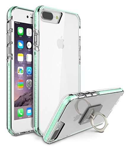 Case Glow - iPhone 8 Plus Cover / iPhone 7 Plus Case, Style4U Scratch Resistant Shock Absorbent Slim Transparent Crystal Clear Back TPU Bumper Glow In The Dark Case Cover w/ Ring Holder Kickstand [Mint Green]