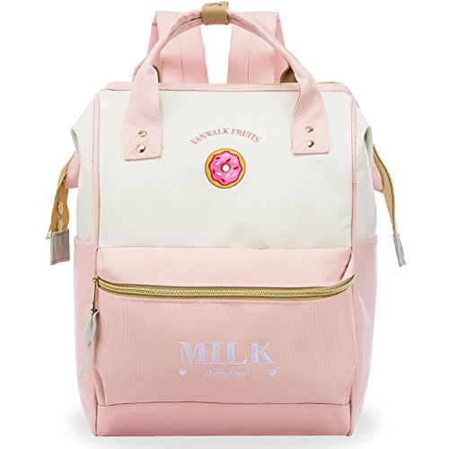 Korean Style Trendy Fashion - ZOMAKE Casual Travel Backpack, Diaper Bag Laptop Daypack Stylish School Backpack for Women & Girls, with Wide Doctor Style Top Opening(Candy Pink)