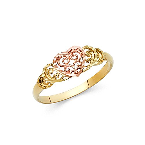 Heart Ring 14k Yellow Rose Gold Love Band Filigree Style Diamond Cut Polished Two Tone 7MM, Size 7 by ZenJewels