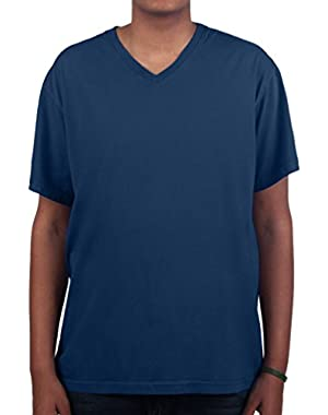Men's V Neck T Shirt Premium Ringspun Cotton Made in USA ST - 2XLT