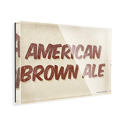 Acrylic Fridge Magnet American Brown Ale Beer, Vintage style NEONBLOND