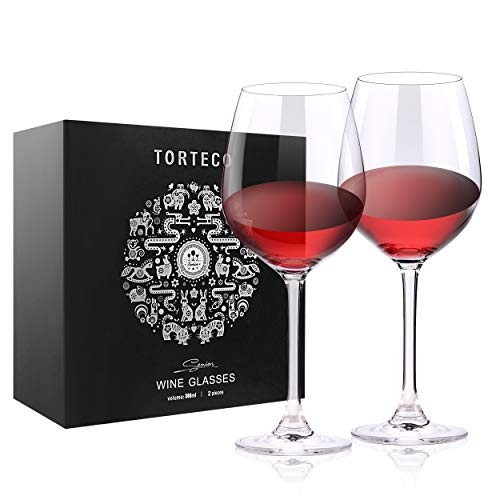 Torteco Red Wine Glasses – 15 Ounce – Lead Free Fine Bavarian Crystal Glasses – For Wine Tasting, Birthday, Anniversary or Wedding Gifts – Set of 2