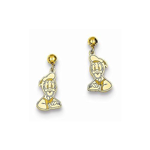Duck Dangle Post (Gold-Toned Sterling Silver Disney Donald Duck Dangle Post Earrings (7mm x 17mm))