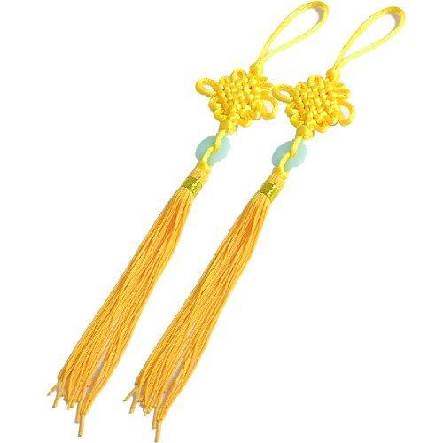 - EbuyChX Peke Jade Accent Tassel Tradisyunal na Tsino Knot Hanging Decor Yellow