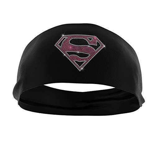 RAVEbandz! Fashion Stretch Headbands (Supergirl Rhinestone Superheros) Non Slip Wide Hippie Boho Sports Fitness Performance Athletic Hair Bands for Women and Girls ()