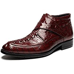 Zorgen Mens Boots Genuine Leather Embossed Hooks&Loops Wedding Formal Dress Boots