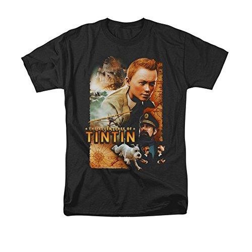 Adventures of Tintin Men's Poster T Shirt Black Small
