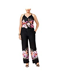 Inc Womens Plus Floral Print Halter Jumpsuit
