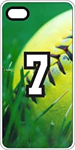 Softball Sports Fan Player Number 07 White Rubber Decorative iPhone 4/4s Case
