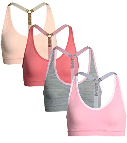 dELiA*s Girls\' Seamless Sports Performance Bra with Removable Pads, 4 Pack (Medium/10-12, Pink/Grey)' (Top 10 Best Bras)