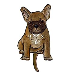 Tan French Bulldog Dog Wagging Tail Pendulum Clock