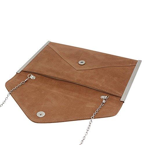 Handbag Evening Suede Faux Womens Bag Shoulder Party Wocharm Bag Brown Envelope Clutch q78n0