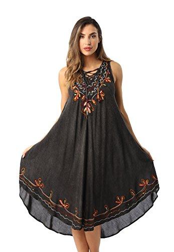 Riviera Sun 21805-BLK-XL Dress Dresses For Women (Embroidered Floral Sundress)
