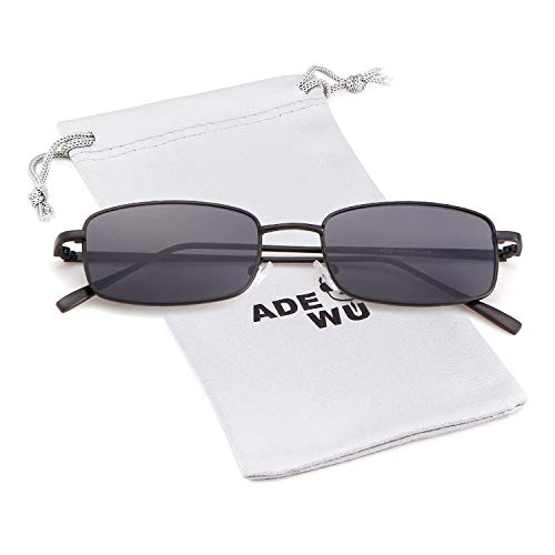 Dark Lens Gray Fashion Frame Retro Sunglasses Glasses Men Square for Women Black ADEWU q46vgx