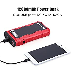 Excelvan 12V 400A Peak 12000mAh Portable Car Jump Starter Auto Battery Booster Phone Power Bank with LED Light Dual USB Charging Port for Motorcycle Boat Automotive