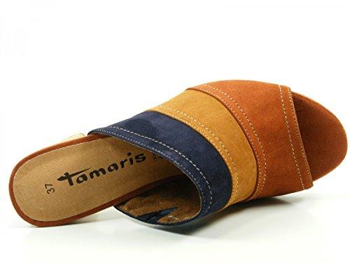 Tamaris 1-27203-26 Zuecos fashion de cuero mujer Mehrfarbig