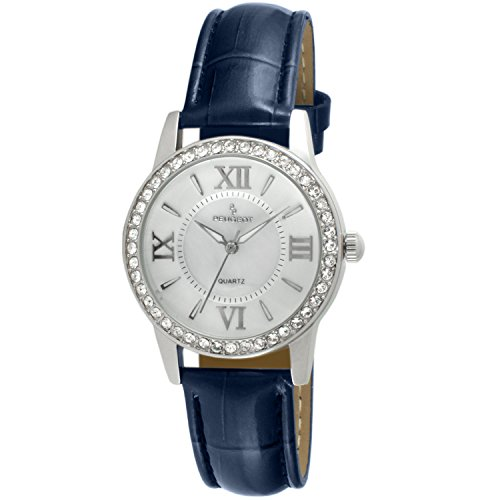 Bezel Watch Peugeot (Peugeot Women's 'Crystal Bezel' Quartz Metal and Leather Dress Watch, Color:Blue (Model: 3044SBL))