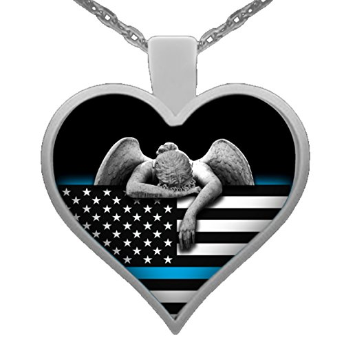 Thin Blue Line Police Necklace Angel and Flag (Jewelry Police)