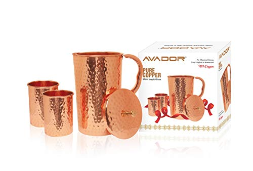AVADOR Handcrafted 100% Pure Copper Jug Pitcher with 2 Glass Drinkware Hammered Finish Ayurveda Health Benefit (Jugs Lids With Drinking)