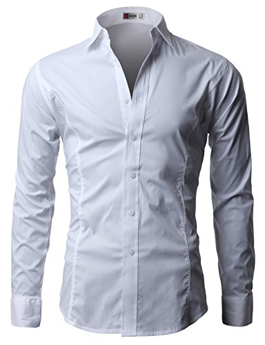 H2H Men's Wrinkle Free Slim Fit Dress Shirts, JASK14_WHITE, US M (Asia L)