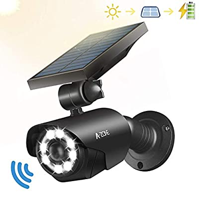 Solar Motion Sensor Light Outdoor - 800Lumens 8 LED Spotlight 5-Watt Solar Lights Outdoor IP66 Waterproof, Wireless Solar Flood Light for Porch Garden Patio Driveway Pathway, Aluminum