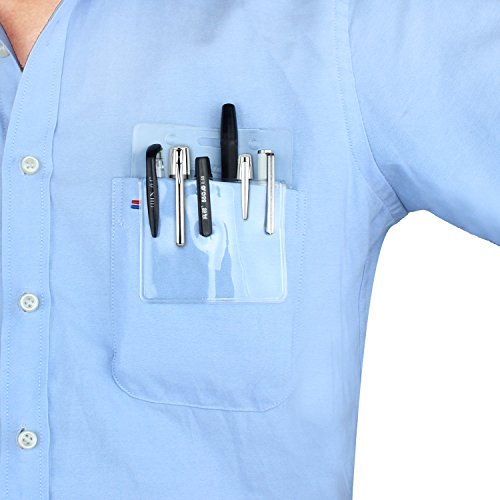 Wisdompro 5 Pack Clear Heavy Duty Pocket Protector for Shirts, Lab Coats, Pants - Multi-Purpose; Holds Pens, Pointers, Cards, and Notes. Top is Pre-Slotted for Lanyard & Has Holes for Nametag by Wisdompro (Image #3)