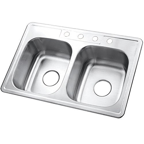 Kingston Brass Gourmetier GKTD33227 Self Rimming Stainless Steel Double Bowl Kitchen Sink 33-Inch-Length by 22-Inch-Width by 7-Inch-Height, Brushed Stainless Steel