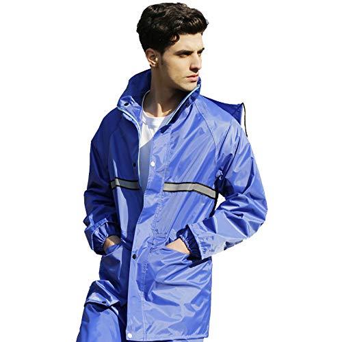 bleu 3XL ZYMNL-YY VêteHommests de Pluie, vêteHommests de Sport Imperméable pour Hommes et Femmes Split Manteau Veste pour Adultes avec Un Pantalon de Costume, VêteHommests de Pluie Imperméable pour Moto
