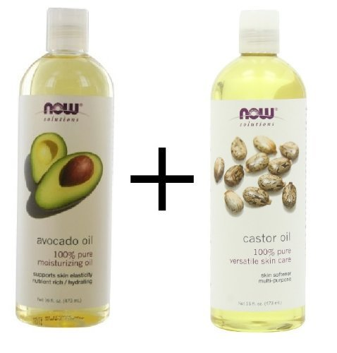 Bundle: Now Foods Avocado Oil, 16 oz. PLUS Now Foods Castor Oil, 16 oz.