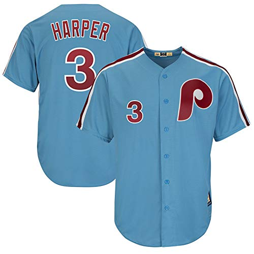 (No.3_Bryce_Harper_Philadelphia_Phillies_Light Blue Cool Base Cooperstown Player Jersey-Youth (Youth XL))