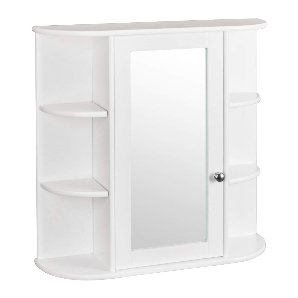 Bonnlo Bathroom Wall Cabinet Modern Double Mirror Door Wall Mount Wood Storage Shelf Indoor Organizer White Finish