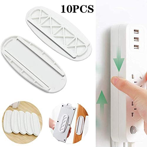 10 Pairs Self Adhesive Power Strip Wall Mount Fixator, Power