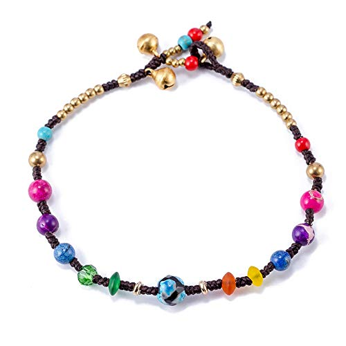 TOMLEE Simple Colorful Round Stone Beaded Chain Anklets for Women, Handmade Anklet for Teen Girls, Bohemian Ankle Bracelets Foot Jewelry