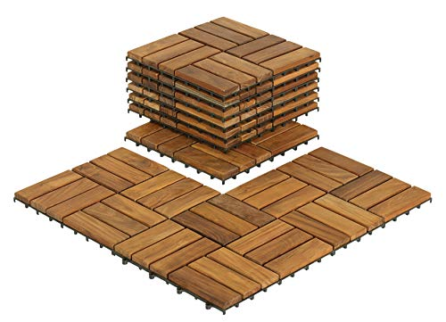 Bare Decor EZ-Floor Interlocking Flooring Tiles in Solid Teak Wood (Set of -
